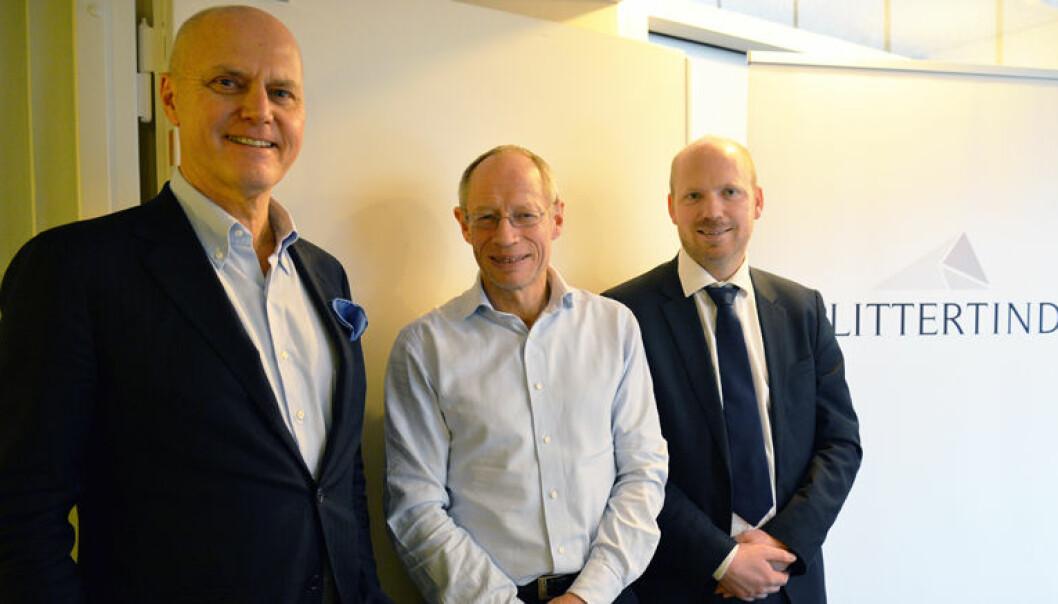 – Glittertind er blitt mottatt over all forventning i markedet, forteller managing partner Aron Solheim (38) (til høyre). Til venstre Anders Ryssdal (61) og Nils-Henrik Pettersson (59).