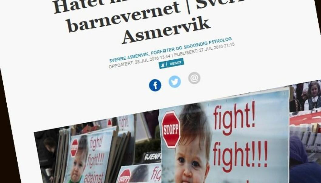 Faksimile fra Sverre Asmerviks kronikk i Aftenpostens nettavis.