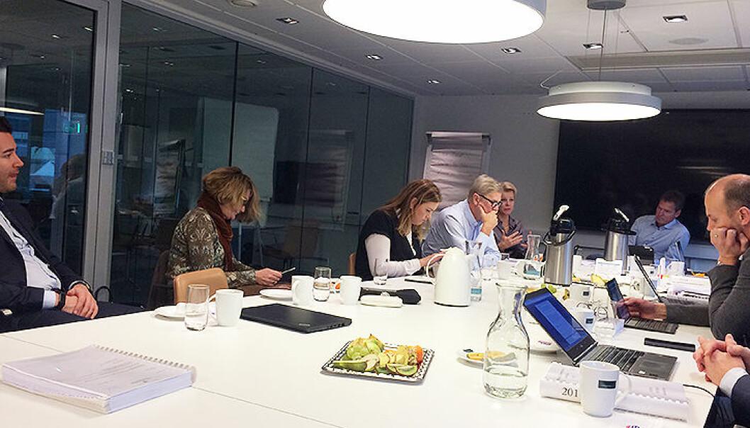 Hovedstyret ekskluderte fredag en straffedømt advokat. Fra venstre John Erik Aarsheim, Susanne Munch Thore, Ida Helene Balke Braastad, Leif Oscar Olsen, Merete Smith, Jens Johan Hjort og Arild Dyngeland.