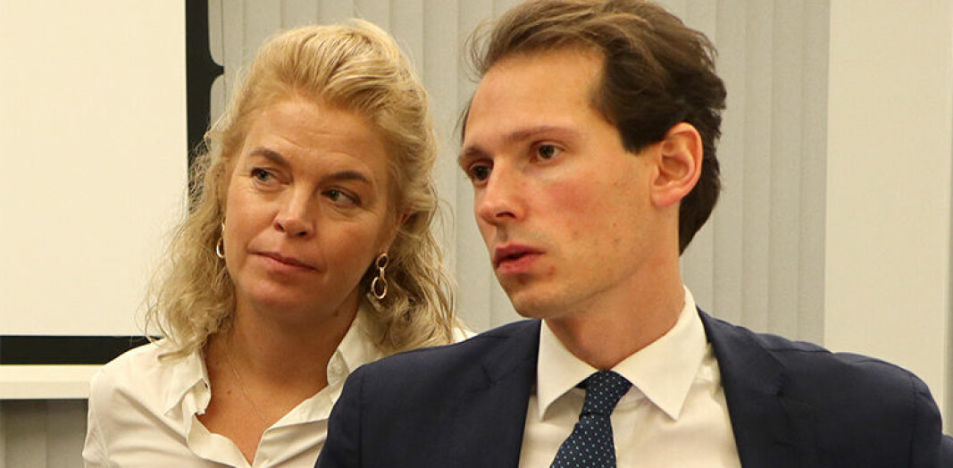 Cathrine Hambro, partner i Wahl-Larsen Advokatfirma, og partner Emanuel Feinberg i Glittertind representerer Greenpeace Norden og Natur og Ungdom. Her fra tingrettsbehandlingen.