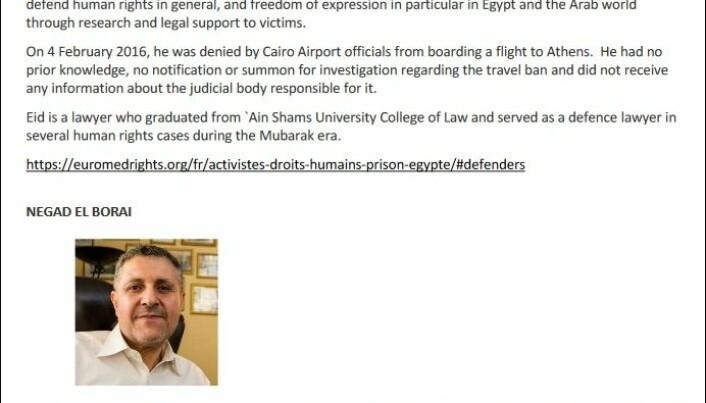 Flere internasjonale advokatorganisasjoner står bak kravet om fengslede advokater og menneskerettsaktivister, deriblant tretten navngitte på denne listen, settes fri  i Egypt.