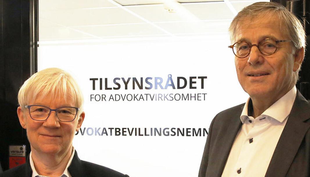 Direktør Hege Bjølseth og tidligere styreleder Thomas Smedsvig i Tilsynsrådet. Smedsvig gikk av som styreleder ved nyttår. Ny styreleder er advokat Trine Buttingsrud Mathiesen.