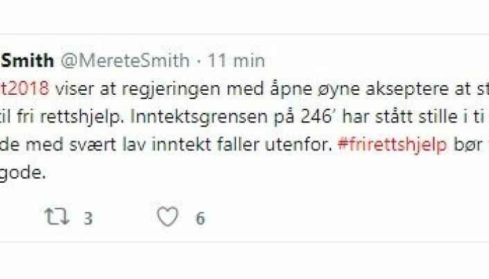 <html><head></head><body> Generalsekretæren i Advokatforeningen, Merete Smith, er kritisk til den reduserte bevilgningen til fri rettshjelp. Foto: Skjermdump/Twitter</body></html>