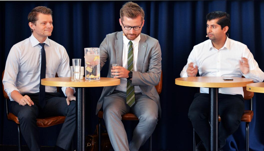 De tre politikerne fra regjeringspartiene Høyre (Peter Frølich), Venstre (Sveinung Rotevatn) og Frp (Himanshu Gulati) møtte til debatt om prioriteringer med Representantskapet.