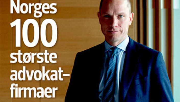 <html><head></head><body> Finansavisens siste Jus-bilag har oversikt over landets største advokatfirmaer, der Thommessen nå topper.</body></html>