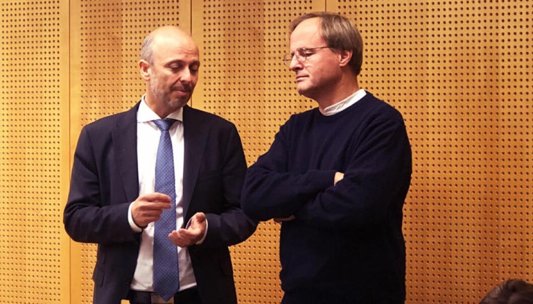 Advokat Halvor Manshaus og initiativtaker for Rettspraksis.no Håkon Wium Lie, møtte Lovdata til muntlige forhandlinger i august 2018. Foto: Thea N. Dahl