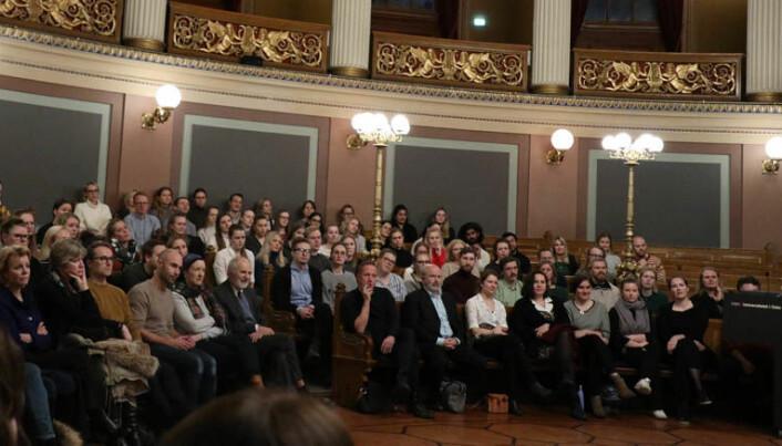 <html><head></head><body> Fullt hus da Advokatforeningen og ICJ Studentnettverk inviterte til forestillingen 0+0=4 på Universitetet i Oslo.</body></html>