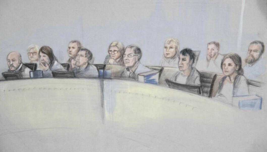 Juryen i Borgarting lagmannsrett under Eirik Jensen-saken ble norgeshistoriens aller siste. Tegning: Ane Hem / NTB Scanpix