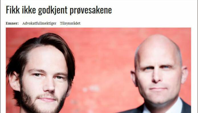 Advokatbladet skrev i august i fjor om advokatfullmektig Gaute Melås, som fikk avslag på bevilling fordi retten hadde oppnevnt ham i eget navn, og ikke i prinsipalens. Til høyre prinsipal Henrik Boehlke.