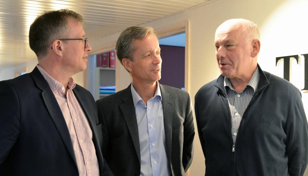 – Vi har hatt en tiltagende vekst de siste årene, og vi ser et stort potensial fremover, sier fra v. Aslak Runde, Kjetil Schonhowd og Jesper Holte.