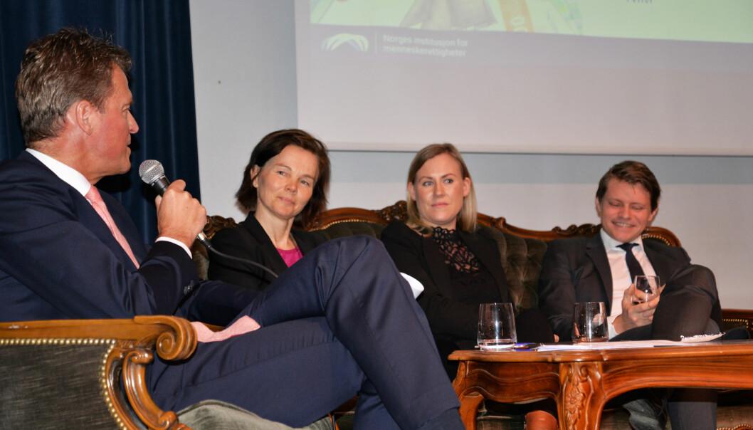 Leder i Advokatforeningen Jens Johan Hjort, førstelagmann Magni Elsheim, leder av Justiskomiteen Lene Vågslid (Ap) og justispolitisk talsperson for Høyre, Peter Frølich.