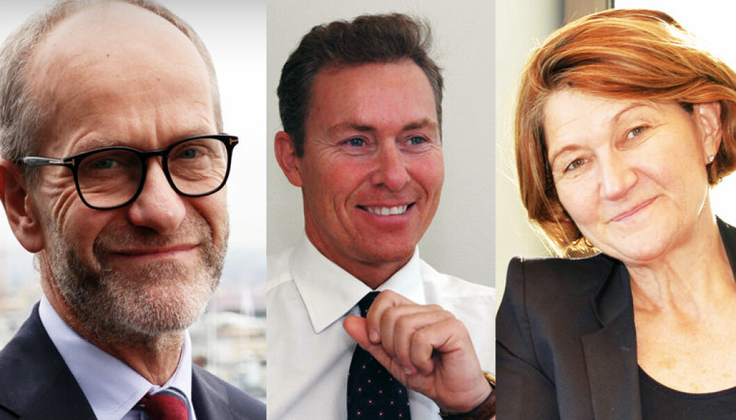 Finn Bjørnstad (t.v) har vært managing partner i Wikborg Rein siden 2015, mens Per M. Ristvedt ledet selskapet fra 2003 til 2011 og Susanne Munch Thore fra 2011 til 2015.