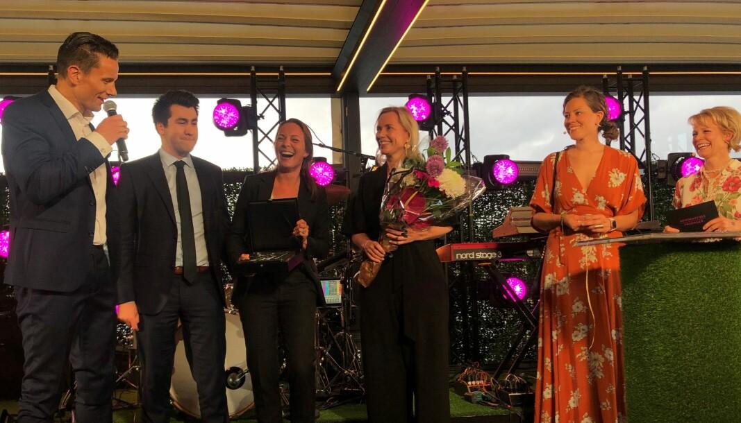 - Vi er fryktelig stolte, sa styreleder Geir Sviggum da han mottok Talentprisen på vegne av Wikborg Rein i fjor.