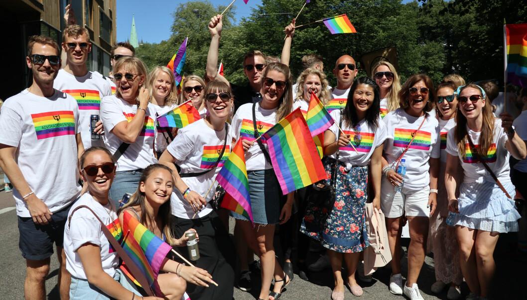 I strålende sol stilte Advokatforeningen Oslo krets opp i fjorårets pride-parade for aller første gang. I år håper de på enda flere deltagere. Foto: Henrik Skjevestad