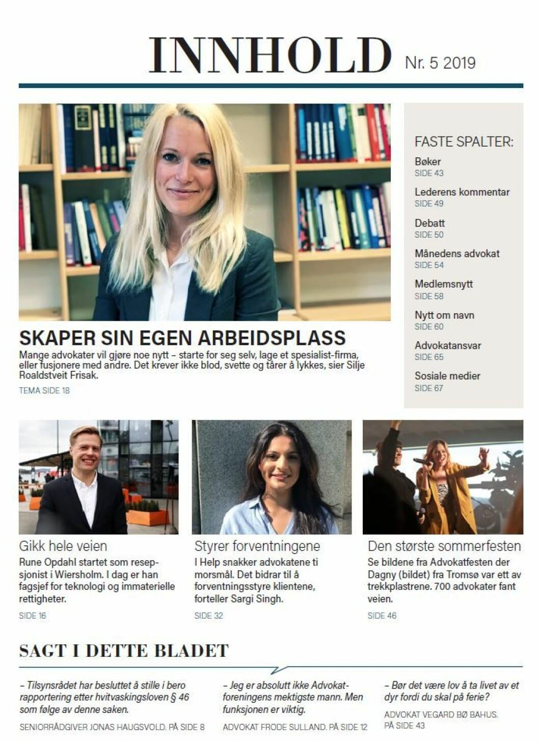 Innholdsfortegnelsen som Advokatbladets sommerutgave.