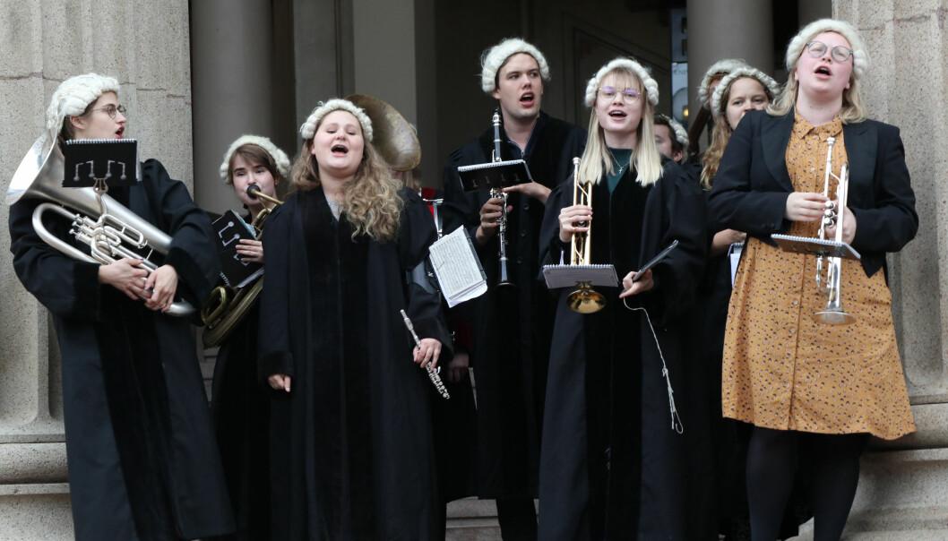 Musikk fra jusstudentkorpset Corpsus Juris markerte åpningen av Oslo Legal walk 2019.