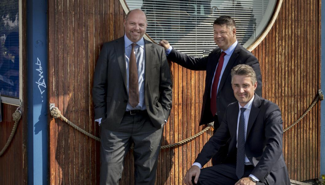 Advokatene Marcus Indrevær (t.v.), Morten Grønvigh og Jonas Tjersland har nå slått seg sammen for å starte et nytt advokatfirma i Oslo. Foto: Advokatfirmaet Grønvigh, Tjersland & Indrevær DA