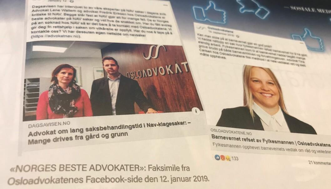 Faksimile fra Advokatbladet og Osloadvokatenes Facebook-oppdateringer. Foto: Skjermdump