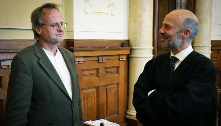 Initiativtaker bak Rettspraksis.no, Håkon Wium Lie, sammen med nettstedets prosessfullmektig, Schjødt-partner Halvor Manshaus.