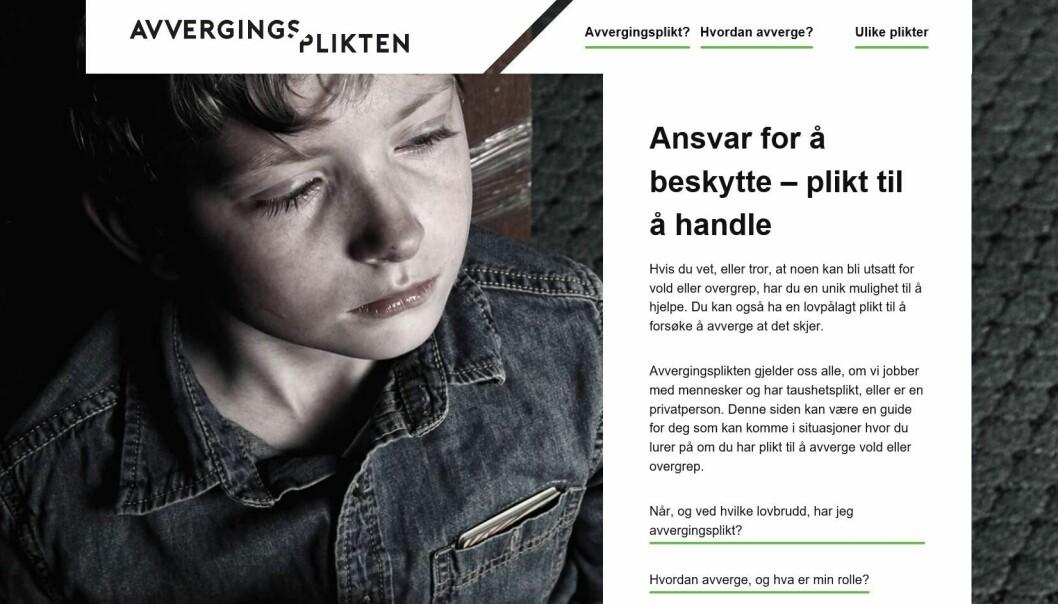 Skjermdump av kampanje-nettstedet plikt.no, som deler informasjon om avvergingsplikten.