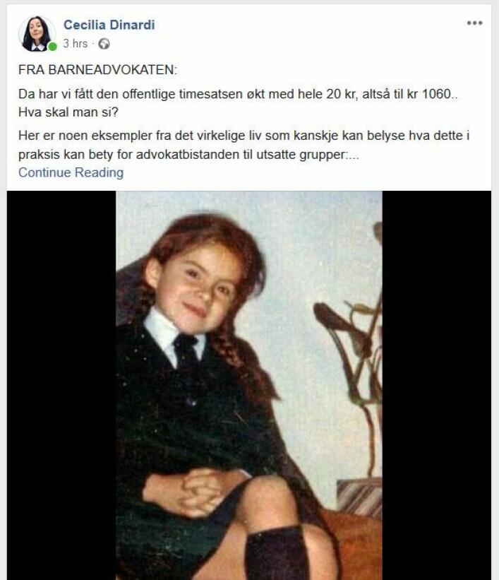 Skjermdump fra Cecilia Dinardis innlegg på Facebook, illustrert med et barnebilde av henne selv.