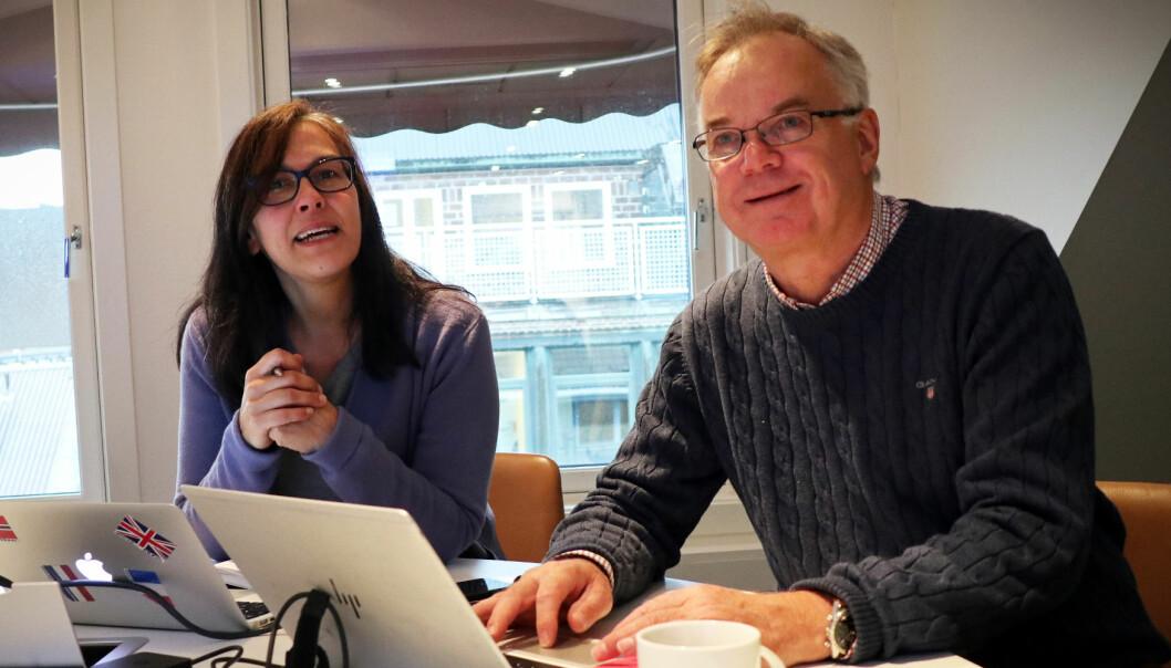 Larissa Sjarbaini og Erik Ødegaard i TechTorget gleder seg til å gi advokater oversikt over hva som finnes av tilgjengelig teknologi. Foto: Thea N. Dahl
