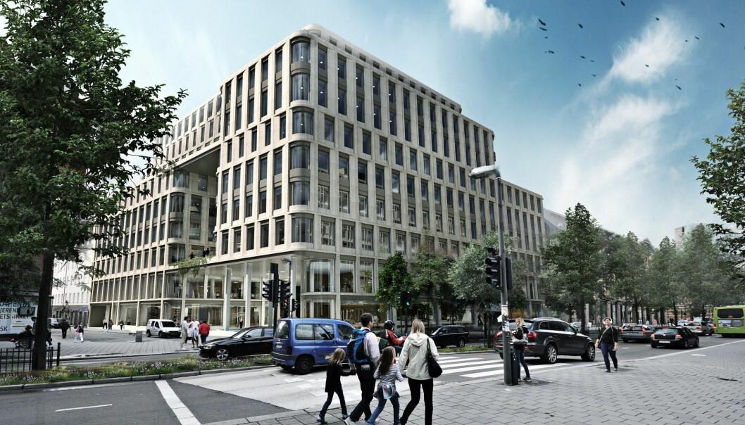 Advokatforeningen vil ha inngang fra Universitetsgaten. Her bygget sett fra Pilestredet (ring 1). Illustrasjon: Entra Eiendom