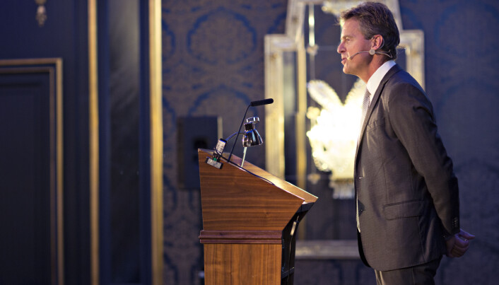 Jens Johan Hjort holder i kveld sin fjerde årstale som Advokatforeningens leder. Her fra en tidligere årstale. Foto: Monica Kvaale