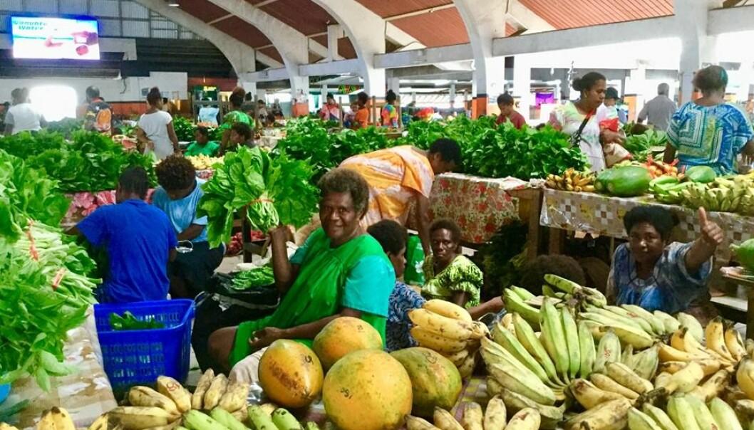 «Mamas Market» i Port Vila er alltid åpent. Kvinner fra alle øyene kommer i sine særegne, fargerike kjoler for å selge sesongens grønnsaker og frukt. Foto: Privat/@nesheimanne