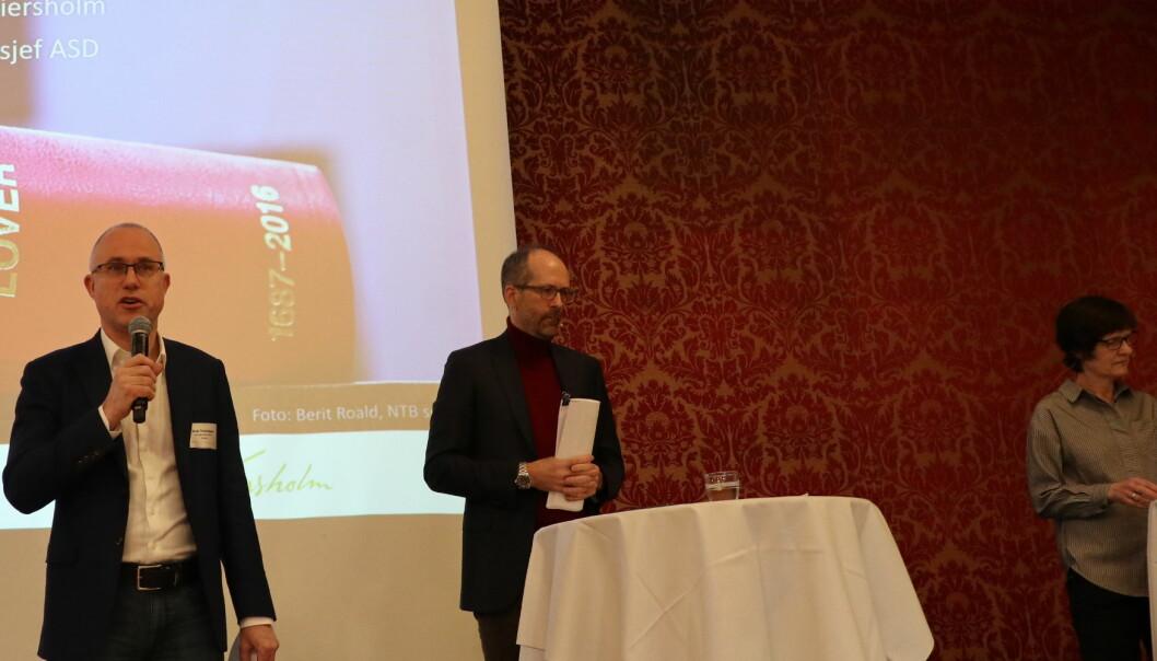 BAHR-partner, og leder av Advokatforeningens utvalg for arbeidsrett, Tarjei Thorkildsen , Wiersholm-partner Jan Fougner, og Ragnhild Nordaas fra Arbeids- og Sosialdepartementet innledet konferansen.