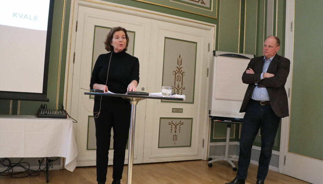 Likestillingsombud Hanne Bjurstrøm og Kvale-partner Jan Erik Sverre holdt foredrag om diskriminering.