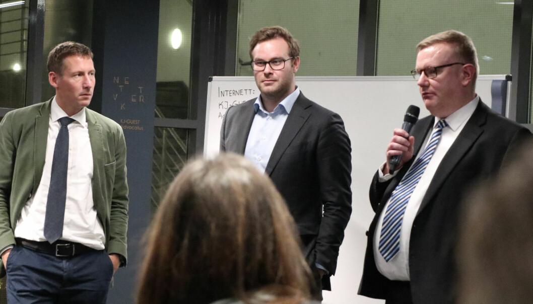 Kurset i Jus Lab i Oslo var fulltegnet. På Advokatforeningen.no finnes det en åpen liste over advokater som deltok på kurset. F.v advokat Tom Sørum, juridisk utreder ved EFTA-domstolen Håvard Ormberg og Olav Lægreid.