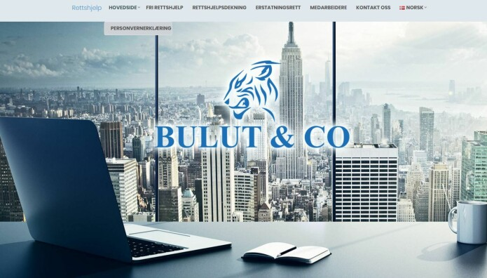 Hovedbildet på hjemmesiden til rettshjelpfirmaet Bulut & CO.