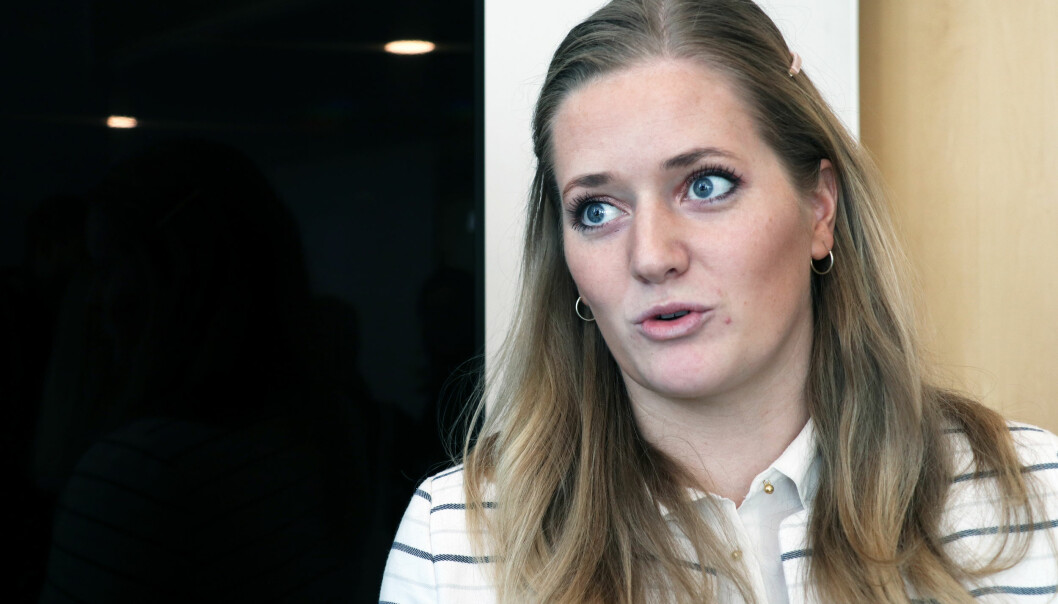 Emilie Enger Mehl var tilstede på pressekonferansen i Justisdepartementets da regjeringens alternativ til ny domstolstruktur ble fremlagt.