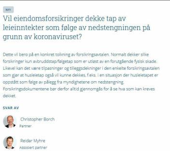 Et eksempel hentet fra Thommessens Q&A om korona-krisen.