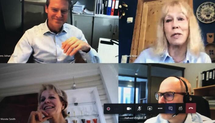 Hovedstyret i Advokatforeningen avholdt i dag videomøte. Øverst fra v. Jens Johan Hjort, Marte Reier, Merete Smith og Hallvard Østgård.