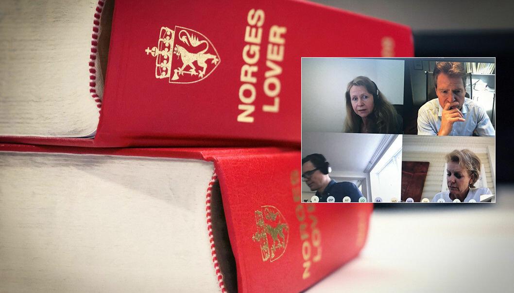 Advokatforeningens hovedstyre behandlet koronalovforslaget i et videomøte fredag. På skjermbildet vises Irene Kildebo, Jens Johan Hjort, Marius Dietrichson og Merete Smith.