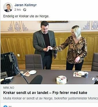 Faksimile fra Jøran Kallmyrs Facebook-profil.