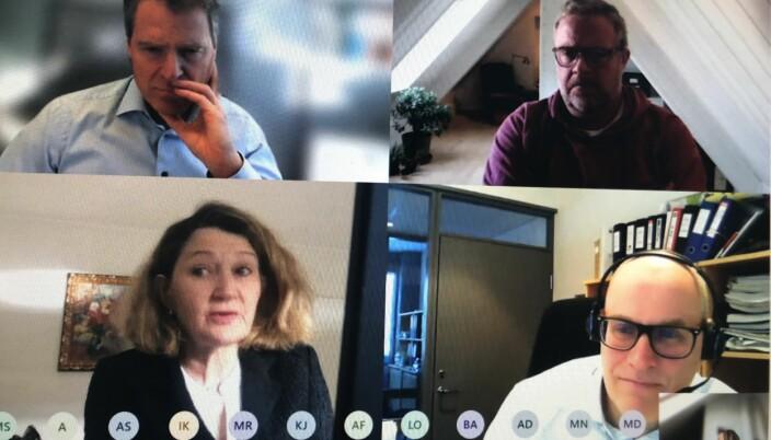 Advokatforeningens hovedstyre holdt ekstraordinært møte om undersøkelsen fredag. Øverst til v. Jens Johan Hjort, Jon Wessel-Aas, Susanne Munch Thore og Hallvard Østgård.