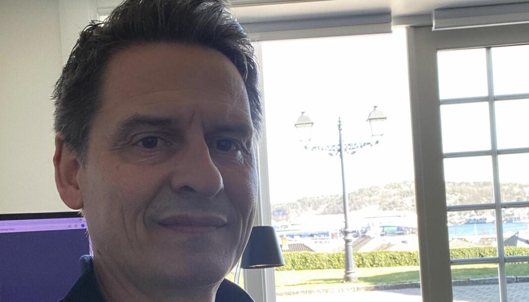 Espen Wangberg tilbake på kontoret i Sandefjord etter klientmøte i Arendal.