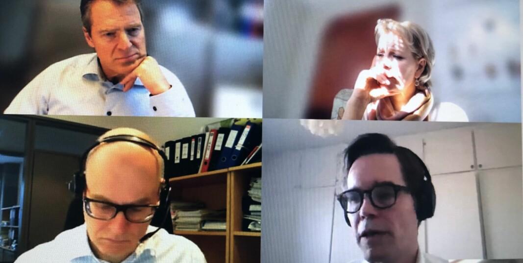 Advokatforeningens hovedstyre hadde ekstraordinært styremøte før påske for å drøfte korona-tiltakene. Øverst fra v. Jens Johan Hjort, Merete Smith, Hallvard Østgård og Marius Dietrichson.