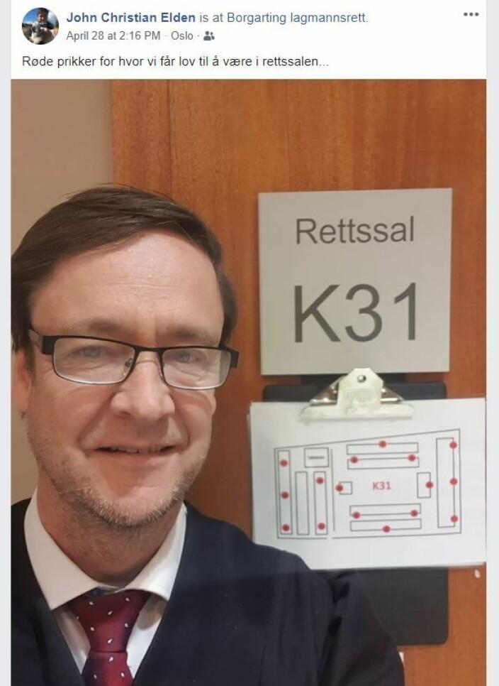 Advokat John Christian Elden delte en oversikt over hvor aktørene i en ankesak i Borgarting skulle plassere seg.