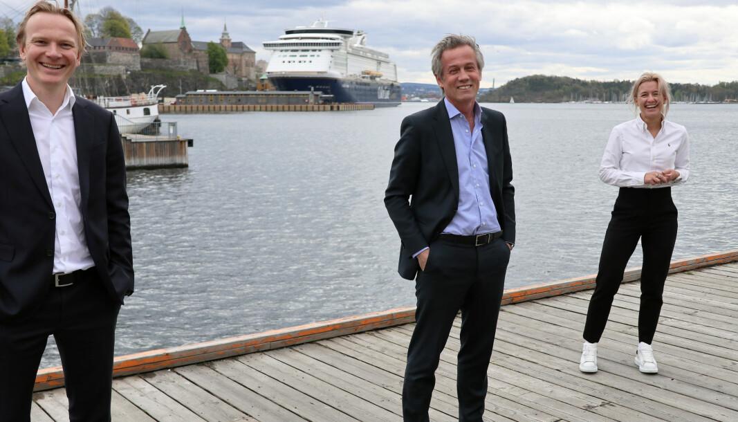 CFO Lars Narum Nordby, managing partner Morten Goller, og markeds- og kommunikasjonsdirektør Christine Liæker Lindberg i Wiersholm har god grunn til å smile.
