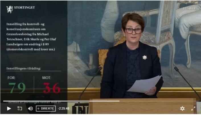 Forslaget om grunnlovsendring ble vedtatt i Stortinget torsdag. Her stortingspresident Heidi Trøen (H).