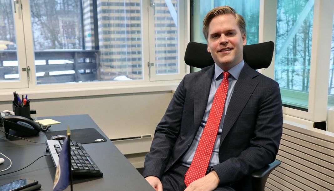 Mandag begynte Kristoffer Sivertsen i ny jobb i Elden. Her fra sitt forrige kontor.