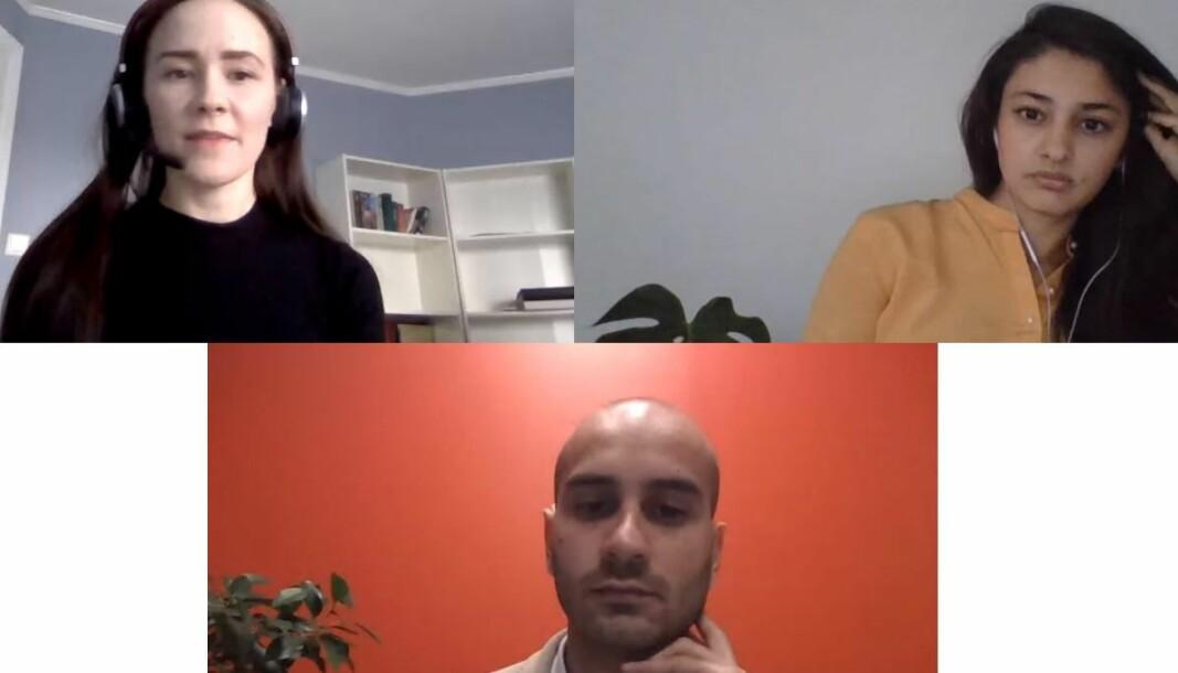 Fra v. Agnieszka Bakanova, Kiran Aziz, og Farooq Ansari deltok på et webinar om mangfold i advokatbransjen onsdag kveld.