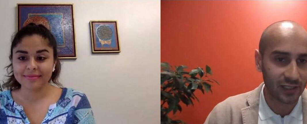 Jusstudent Kimiya Sajjadi og Farooq Ansari under webinaret onsdag kveld.