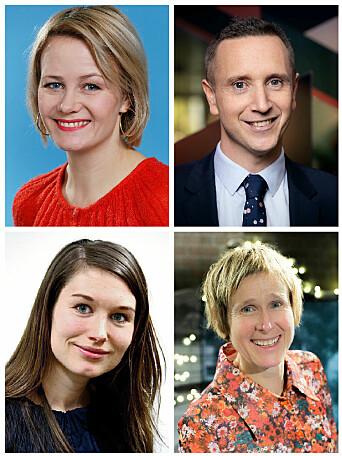 Årets medieprisvinnere, øverst fra venstre: Sigrid Sollund (Lytterprisen), Torstein Bae (TV-prisen), Eirin Eikefjord (Gullpennen) og Linda Eide (Språkgledeprisen). (Foto: NRK, Bergens Tidende).