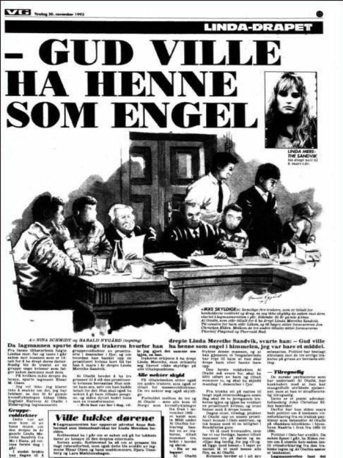 Faksimile fra VG fra Eldens første hovedforhandling, en sak som fikk mye oppmerksomhet i riksmediene. (En liten kuriositet; det var Advokatbladets redaktør som dekket saken for VG).