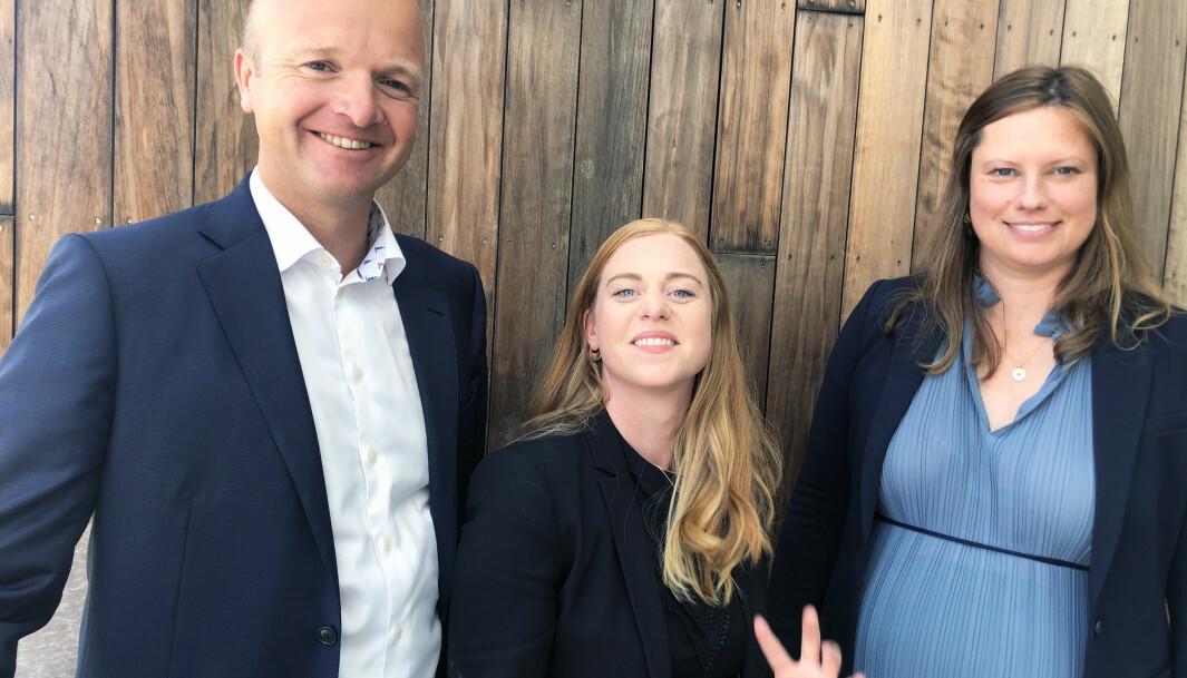 - Morsomt å være tett på de store sakene, sier partner Jon Christian Thaulow, advokatfullmektig Tuva Lien og partner Anne Dahl Frisak i BAHR.